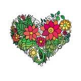 Carte de voeux ornementale du ` s de StValentine avec le croquis floral de coeur de zentangle coloré Illustration de coeur de vec Images stock