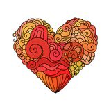 Carte de voeux ornementale du ` s de StValentine avec le croquis rouge de coeur de griffonnage de zentangle Illustration tribale  Photos libres de droits