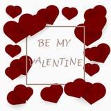 Carte de voeux ou affiche de jour du ` s de Valentine avec le cadre des coeurs rouges Photo stock