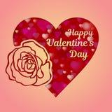 Carte de voeux ou bannière heureuse de jour de valentines Un coeur rose et une belle rose ont coupé du papier Modèle rouge de coe illustration stock