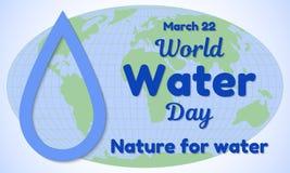 Carte de voeux ou bannière de thème de jour de l'eau du monde Une goutte de l'eau a coupé du papier et de ressembler à une inscri Image libre de droits
