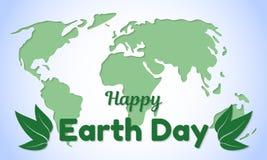 Carte de voeux ou bannière de thème de jour de terre Les feuilles d'inscription et de vert de salutation sur un fond d'une carte  Image libre de droits