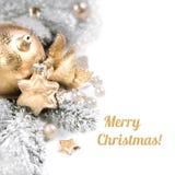 Carte de voeux ou frontière de Noël, sur le blanc, légende Image stock