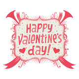 Carte de voeux ou invitation heureuse de jour de valentines avec la typographie de Handlettering Image libre de droits