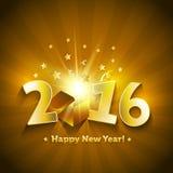 carte de voeux ouverte de bonne année du boîte-cadeau 2016 Photographie stock libre de droits