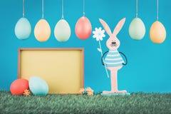 Carte de voeux de Pâques avec le lapin de cru photo libre de droits