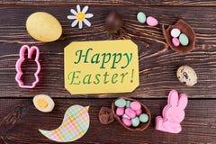 Carte de voeux de Pâques et ornements faits main Photo libre de droits