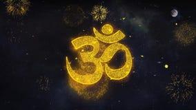 Carte de voeux de particules de l'OM ou de l'Aum Shiva Wishes Reveal From Firework illustration libre de droits