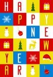 Carte de voeux pendant la nouvelle année, rassemblée des cartes des enfants illustration stock