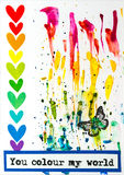 Carte de voeux peu commune vive faite main de l'amour Photos libres de droits
