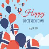 Carte de voeux plate de Jour de la Déclaration d'Indépendance Image libre de droits