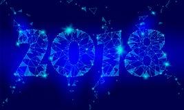 Carte de voeux polygonale géométrique de la nouvelle année 2018 Fond bleu-foncé de basse poly technologie de triangle future corp illustration de vecteur