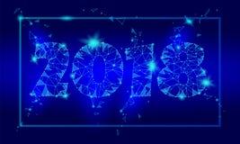 Carte de voeux polygonale géométrique de la nouvelle année 2018 Fond bleu-foncé de basse poly technologie de triangle future corp illustration stock