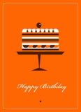 Carte de voeux pour l'anniversaire avec le gâteau de chocolat Photographie stock libre de droits