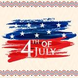 Carte de voeux pour la 4ème de la célébration de juillet Photo libre de droits