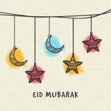 Carte de voeux pour la célébration sainte d'Eid de festival Photographie stock