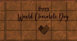 Carte de voeux pour le jour de chocolat du monde Photo stock