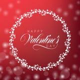 Carte de voeux pour le jour du `s de valentine Le fond est rouge avec les boules de scintillement brouillées Image libre de droits