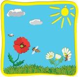 Carte de voeux puérile de bande dessinée avec le soleil Photos libres de droits