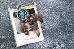 Carte de voeux rêveuse faite main de receveur et Image libre de droits