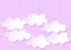 Carte de voeux rose accrochante de nuages Photographie stock libre de droits