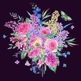 Carte de voeux rose de roses et de lilas d'aquarelle Photographie stock libre de droits