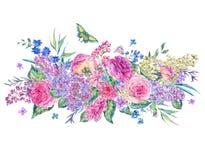 Carte de voeux rose de roses et de lilas d'aquarelle Images libres de droits