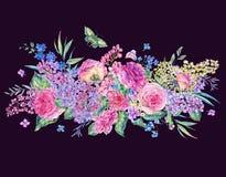 Carte de voeux rose de roses et de lilas d'aquarelle Photographie stock