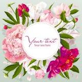 Carte de voeux rose, rouge et blanche de pivoine Photographie stock libre de droits