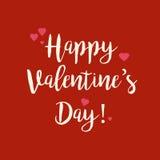 Carte de voeux rouge de jour de valentines avec les coeurs roses Photo libre de droits