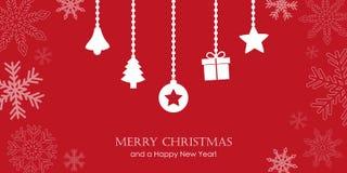 Carte de voeux rouge de Noël avec la frontière de flocon de neige et le De accrochant illustration libre de droits