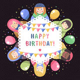Carte de voeux russe moderne d'anniversaire de poupées de bande dessinée mignonne et drôle Photo stock