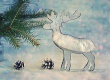 Carte de voeux rustique en bois de Noël de style d'ola d'élans ou de renne Photographie stock