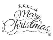 Carte de voeux sans couleur de Joyeux Noël avec le texte illustration de vecteur