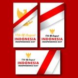 Carte de voeux simple de Jour de la Déclaration d'Indépendance de l'Indonésie Photos stock
