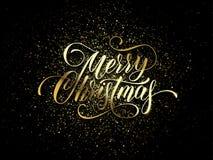 Carte de voeux de souhait de Joyeux Noël des confettis de scintillement d'or ou des feux d'artifice de scintillement sur le fond  Image libre de droits