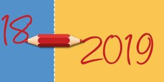 Carte de voeux 2019 symbolisant la transition à la nouvelle année à l'aide d'un crayon illustration libre de droits