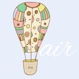 Carte de voeux tirée par la main de baloon d'air de Catoon Illustration Libre de Droits