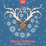 Carte de voeux tirée par la main de Noël avec un mignon Photo libre de droits