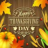 Carte de voeux tirée par la main de thanksgiving avec des feuilles illustration libre de droits