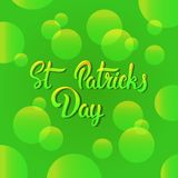 Carte de voeux tirée par la main de lettrage de Patrick Day Background With Green de saint Illustration Stock