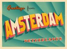 Carte de voeux touristique de vintage d'Amsterdam illustration libre de droits