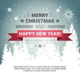 Carte de voeux de vacances d'hiver de concept de Joyeux Noël et de bonne année au-dessus de Forest Background transparent Image libre de droits