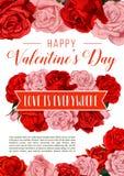 Carte de voeux de Valentine Day avec les fleurs roses Photographie stock libre de droits