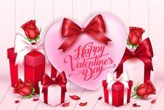 Carte de voeux de valentines avec le coeur rose et ruban avec des cadeaux Photographie stock libre de droits