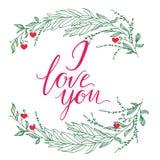 Carte de voeux de vecteur Composition avec JE T'AIME l'inscription et larges branchs verts sur un fond blanc Amour universel post illustration de vecteur