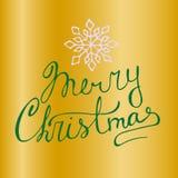 Carte de voeux de vecteur de Noël sur un fond d'or avec le lettrage et le flocon de neige de main illustration stock