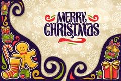Carte de voeux de vecteur pour le Joyeux Noël illustration de vecteur