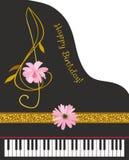 Carte de voeux verticale de joyeux anniversaire avec le piano à queue noir, ruban d'or, clef triple sous la forme de fleur de cos illustration de vecteur