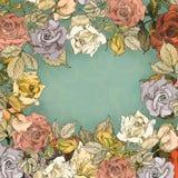 Carte de voeux victorienne de roses Photographie stock